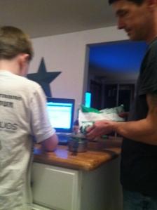 My son, Alex, and I preparing this recipe